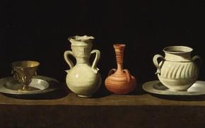 Picture Francisco de Zurbaran, 1660, Still life with four vessels