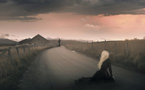 Picture road, field, look, girl, clouds, pose, fog, house, rendering, back, blonde, male, sitting, long-haired