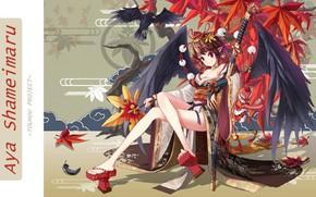 Picture pattern, katana, neckline, kimono, Raven, Aya Shameimaru, maple leaves, sheath, black wings, Touhou Project, tengu, …