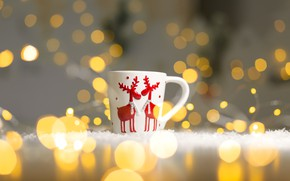 Picture background, Christmas, mug, deer, bokeh, Kukota Ekaterina