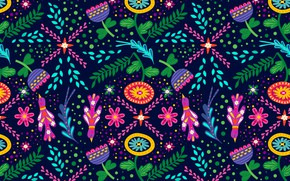 Picture flowers, birds, background, graphics, texture, digital art, flora