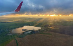 Picture The sun, The sky, Nature, Clouds, Meadows, Field, The plane, Lake, Clouds, Dawn, Rays, Landscape, …