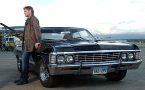 Picture Winchester, supernatural, supernatural, Dean, Jensen Ackles, Impala, Kaz, Kansas, impala 1967