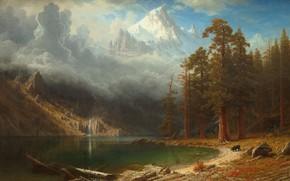 Picture mountains, shore, pond, Albert Bierstadt, Mount Corcoran