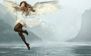 Picture Girl, Music, Lake, Violin, Angel, Asian, Girl, Wings, JH Stonehouse, by JH Stonehouse, Day Muse