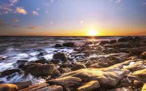 Picture sea, beach, the sky, light, sunset, stones, dawn, shore, coast, horizon, surf, stones