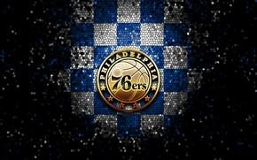 Picture wallpaper, sport, logo, basketball, NBA, glitter, checkered, Philadelphia 76ers