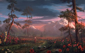 Picture trees, flowers, mountains, nature, people, Maki, sword, warrior, fantasy, art, cloak