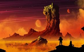 Picture Mountain, People, Planet, Rock, Space, Planet, Silhouette, Art, Fiction, Lava, Kvacm, by Kvacm, Michal Kváč, …
