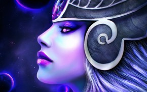 Picture girl, face, lol, League of Legends, syndra, dark sovereign