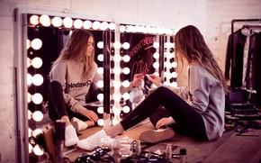 Picture girl, pose, model, sneakers, mirror, lipstick, cosmetics, Gigi Hadid