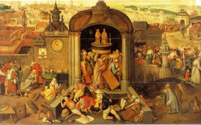 Picture religious painting, Hieronymus BOSCH, Christ expels the merchants from the temple