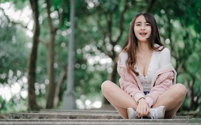 Picture girl, pose, legs, Asian, cutie, bokeh, knees