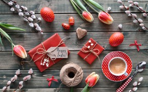 Picture coffee, Easter, tulips, Holiday, wood, composition, Anya Ivanova