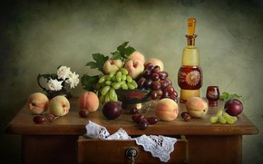 Picture flowers, bottle, roses, grapes, still life, peaches, plum