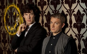 Picture background, two, Sherlock Holmes, smiley, Martin Freeman, Benedict Cumberbatch, Sherlock, Sherlock BBC, Sherlock Holmes, John …