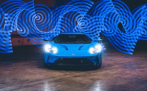 Picture lights, Ford, supercar, Ford GT, 2017, H040, Riviera Blue