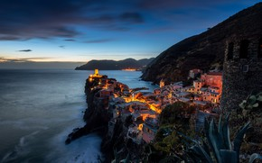 Picture sea, the sky, clouds, mountains, night, the city, lights, rocks, view, tower, home, the evening, …