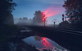 Picture night, nature, railroad