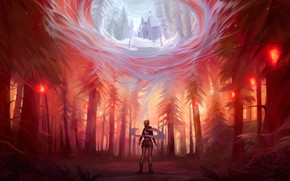 Picture mystic, lights, red moon, fairy forest, vision, the lonely traveler, облако предсказаний