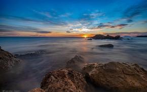 Picture sea, the sky, the sun, clouds, sunset, stones, coast, the evening, horizon, Spain, Valencia, reefs, ...
