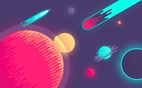 Picture star, planet, vector, rocket, illustration