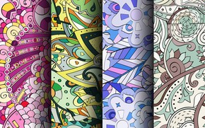 Picture abstraction, colorful, patterns, seamless, Paisley