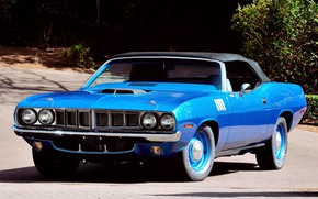 Picture Blue, Barracuda, Plymouth, Convertible, Vehicle, Plymouth Barracuda, Hemi CUDA, Pony Car
