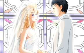 Picture the bride, wedding, the groom, Shigatsu wa Kimi no Uso, Your April lie