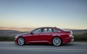 Picture red, Audi, profile, sedan, 2018, four-door, A6 Sedan