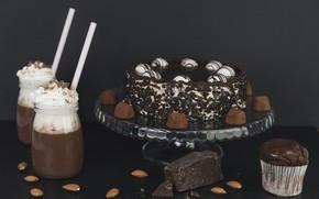 Picture chocolate, cream, cake, nuts, cake, dessert, chocolate, sweet, cupcake, cocoa, dessert