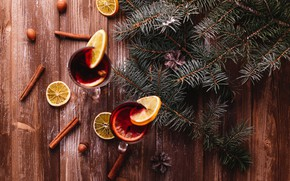 Picture photo, Branches, Board, New year, Food, Nuts, Cinnamon, Drinks, Lemons