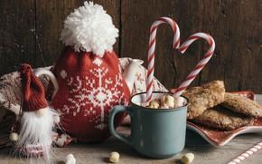 Picture decoration, New Year, Christmas, mug, Christmas, cup, New Year, decoration, xmas, Merry, hot chocolate, marshmallow, …