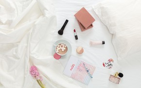 Picture coffee, morning, makeup, handle, Notepad, cosmetics, Marshmallow, Ladies, Macaroons, Cosmetics