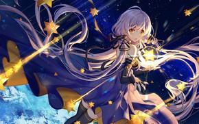 Picture Girl, long hair, dress, anime, stars, artwork, yellow eyes, purple hair, anime girl