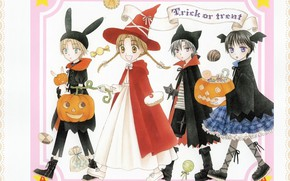 Picture smile, shoes, sweets, Halloween, braids, ears, red coat, witch, witch hat, trick or treat, skirt …