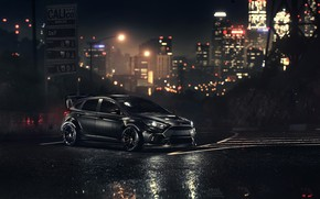 Picture Ford, Auto, Night, Machine, Ford, NFS, Focus, Ford Focus, Ford Focus RS, Game Art, Mikhail …