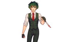 Picture blood, knife, guy, My Hero Academia, Boku No Hero Academy, Midori Isuku, My Hero Academy