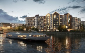 Picture river, people, building, Residential complex on the waterfront, transport