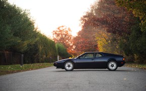 Picture BMW, side view, BMW M1, dark blue, E26, M1