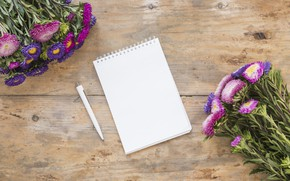 Picture flowers, handle, Notepad, wood, flowers, bouquet, bouquets