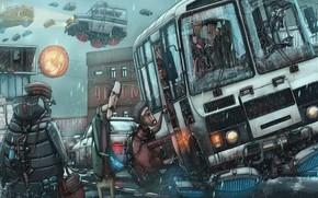 Wallpaper humor, cyberpunk, The future of Russia, fantasica