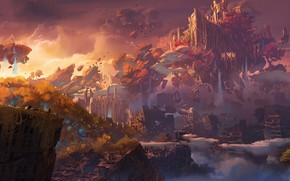 Picture The sky, Mountains, The city, The game, Rocks, Apocalypse, City, Heaven, Art, Art, Fiction, Game, …