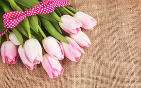 Picture bouquet, tape, tulips, pink, burlap