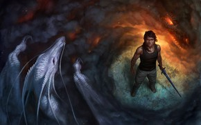 Picture fiction, magic, dragon, smoke, sword, scales, warrior, male