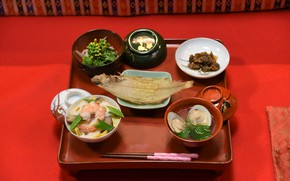 Picture seafood, Japanese cuisine, serving