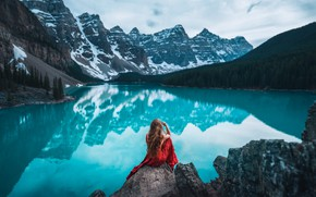 Picture forest, water, girl, landscape, mountains, lake, reflection, hair, back, Lizzy Gadd