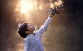 Picture toy, boy, the plane