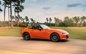 Picture orange, movement, Mazda, Roadster, side view, MX-5, 30th Anniversary Edition, 2019
