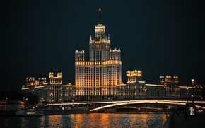 Picture night, bridge, the city, house, river, the building, height, the evening, lighting, Moscow, architecture, promenade, …